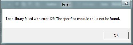 loadlibrary failed error 126